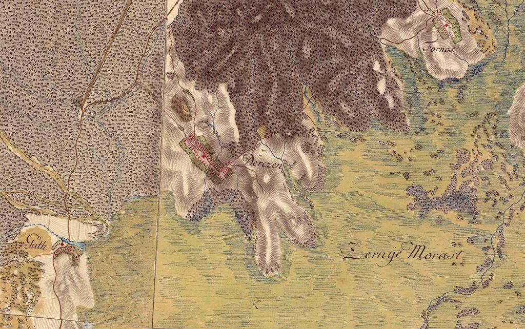Дерцен на мапі XVIII ст.